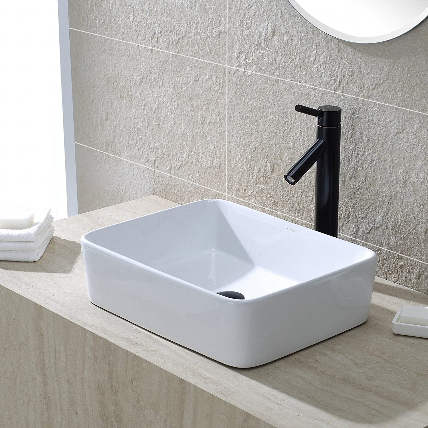 Bathroom sink rectangular - Kraus Kcv 121 White Rectangular Ceramic Bathroom Sink Vessel Sinks Amazon Com
