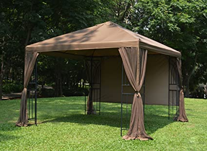Apex Garden 10 Ft X 10 Ft Symphony Gazebo With Mosquito Net Privacy Screen And Planter Holders