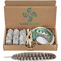 Sarimoire Sage Smudge Kit - White Sage Smudge Sticks - 4In ~ Abalone Shell 5-6In ~ 2In Tripod Stand ~ 10-12In Feather…