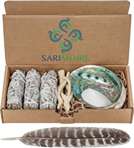 Sarimoire Sage Smudge Kit - White Sage Smudge Sticks - 4In ~ Abalone Shell 5-6In ~ 2In Tripod Stand ~ 10-12In Feather and White Sand