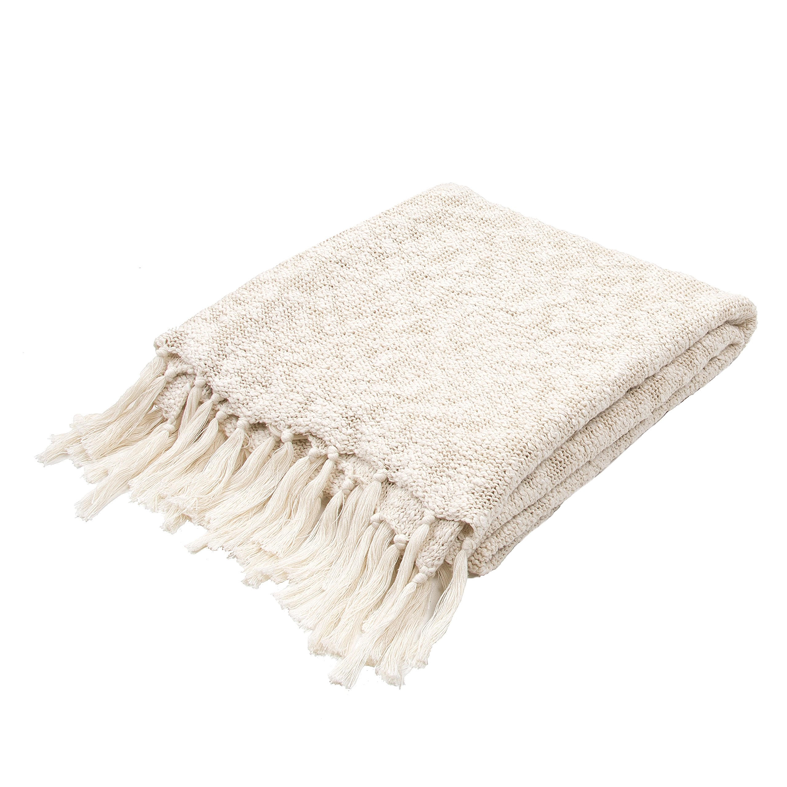 Jaipur Soft Hand Solid Pattern Ivory Cotton Throw, 50-Inch x 60-Inch, Angora Gem-2