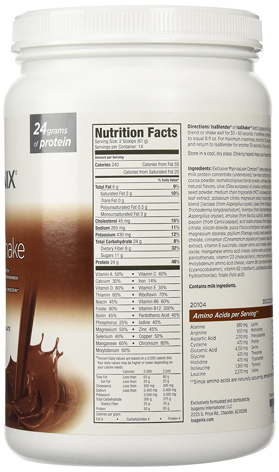 New Isagenix Isalean Shake Creamy Dutch Chocolate Protein Shake