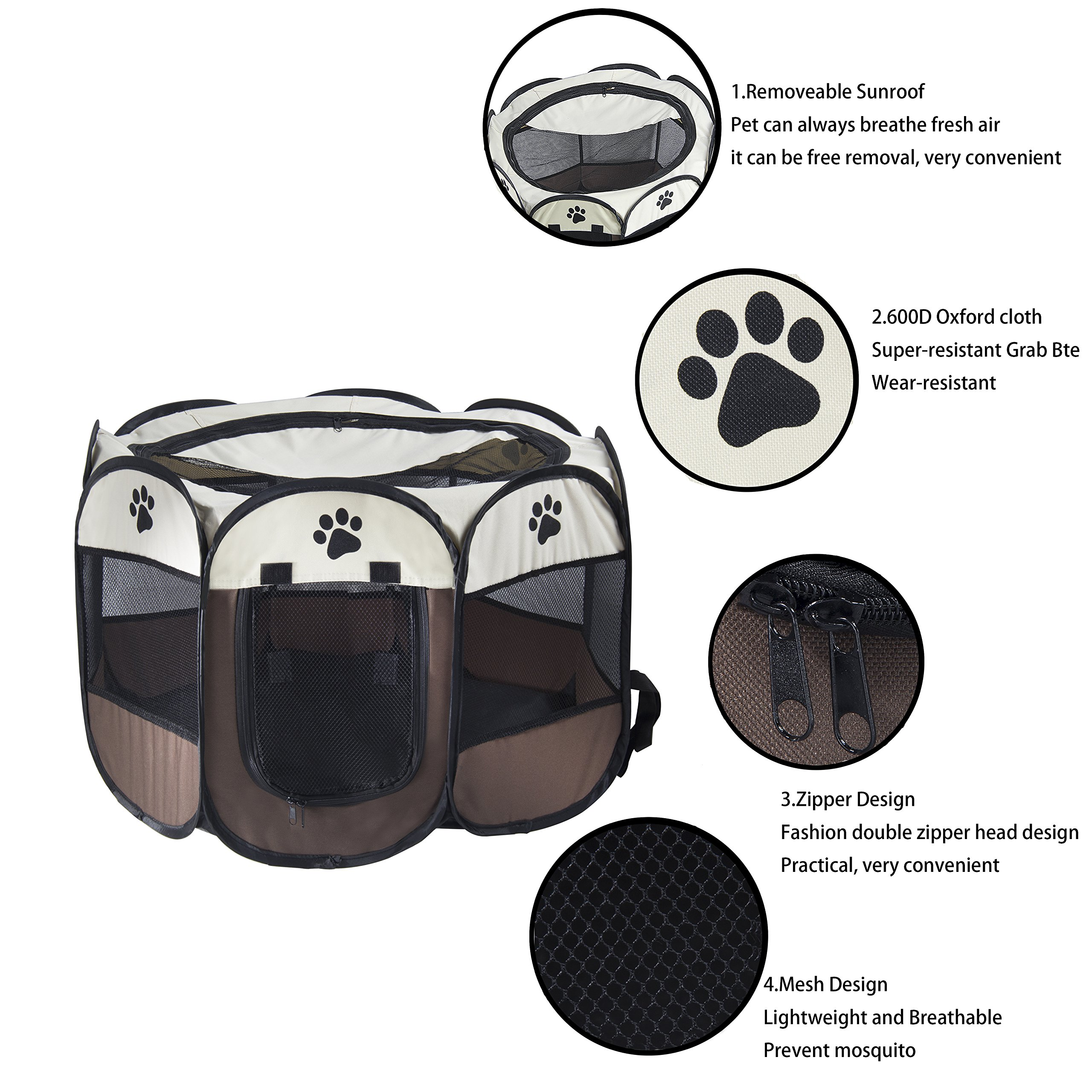 MiLuck Pet Portable Foldable Playpen, Exercise 8-Panel Kennel Mesh Shade Cover Indoor/outdoor Tent Fence For Dogs Cats(L/Brown) by MiLuck (Image #3)