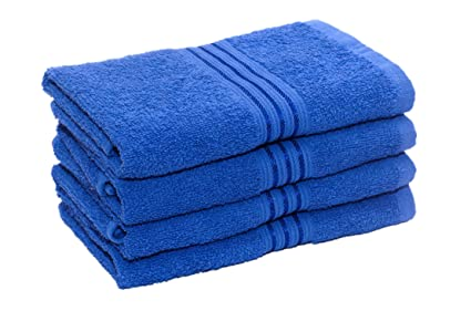 HomeStrap Classic 4 Piece 380 GSM Cotton Hand Towel Set - Blue