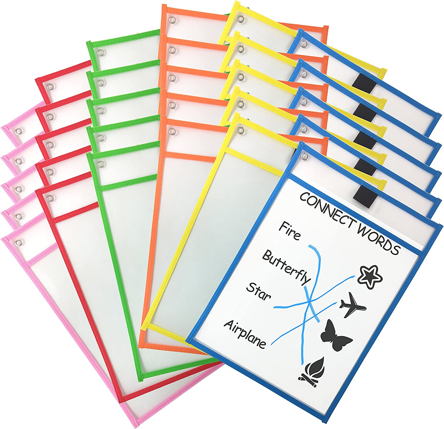 Clipco Dry Erase Pocket Sleeves Assorted Colors (30-Pack) : Office Products
