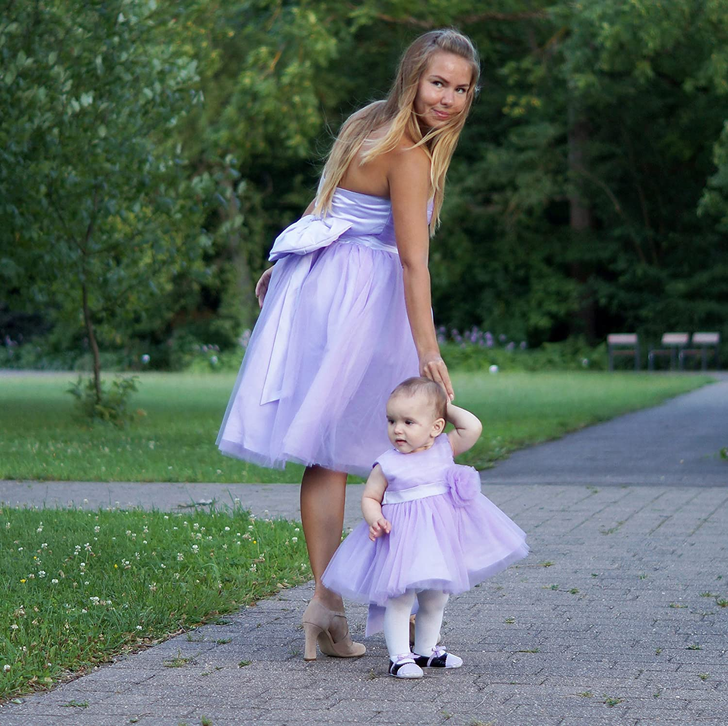 Amazon Com Mother Daughter Matching Dresses Purple Tutu Dresses Tulle Dresses For Mother Daughter Mommy And Me Dress Outfits With Bow Birthday Wedding Handmade,Boat Neck Satin Wedding Dress
