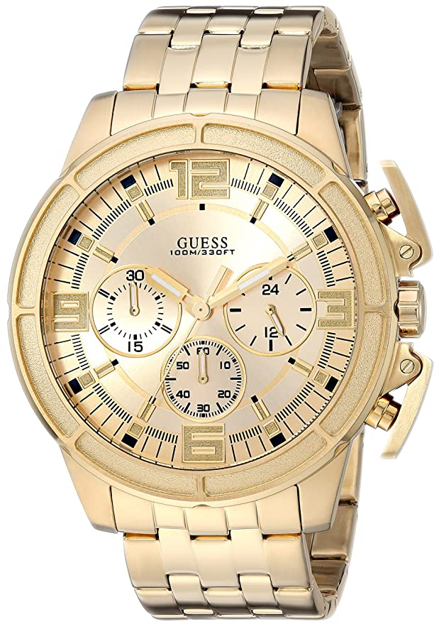 Amazon.com: GUESS Mens Japanese-Quartz Watch with Stainless-Steel Strap, Color: Black, 22: ((Model: U1114G1): Watches