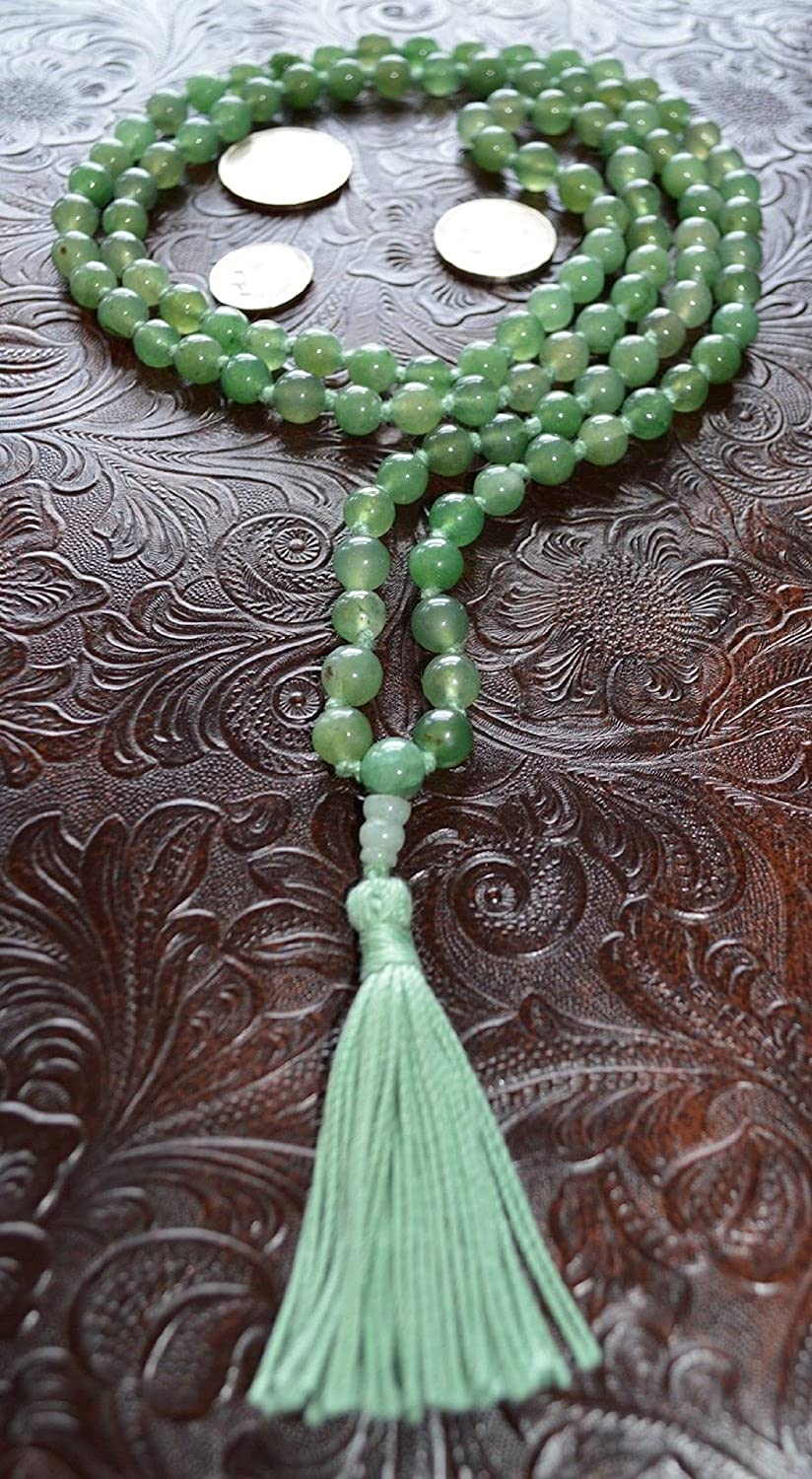 Jade green jade hand knotted japa mala 8mm prayer beads necklace. Energized 108+1 buddhist karma mala for nirvana chanting aum om awakening chakra - Free mala pouch included - USA Seller