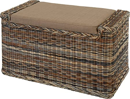 Rattan Laundry Basket With Cushioned Seat Upholstered Laundry