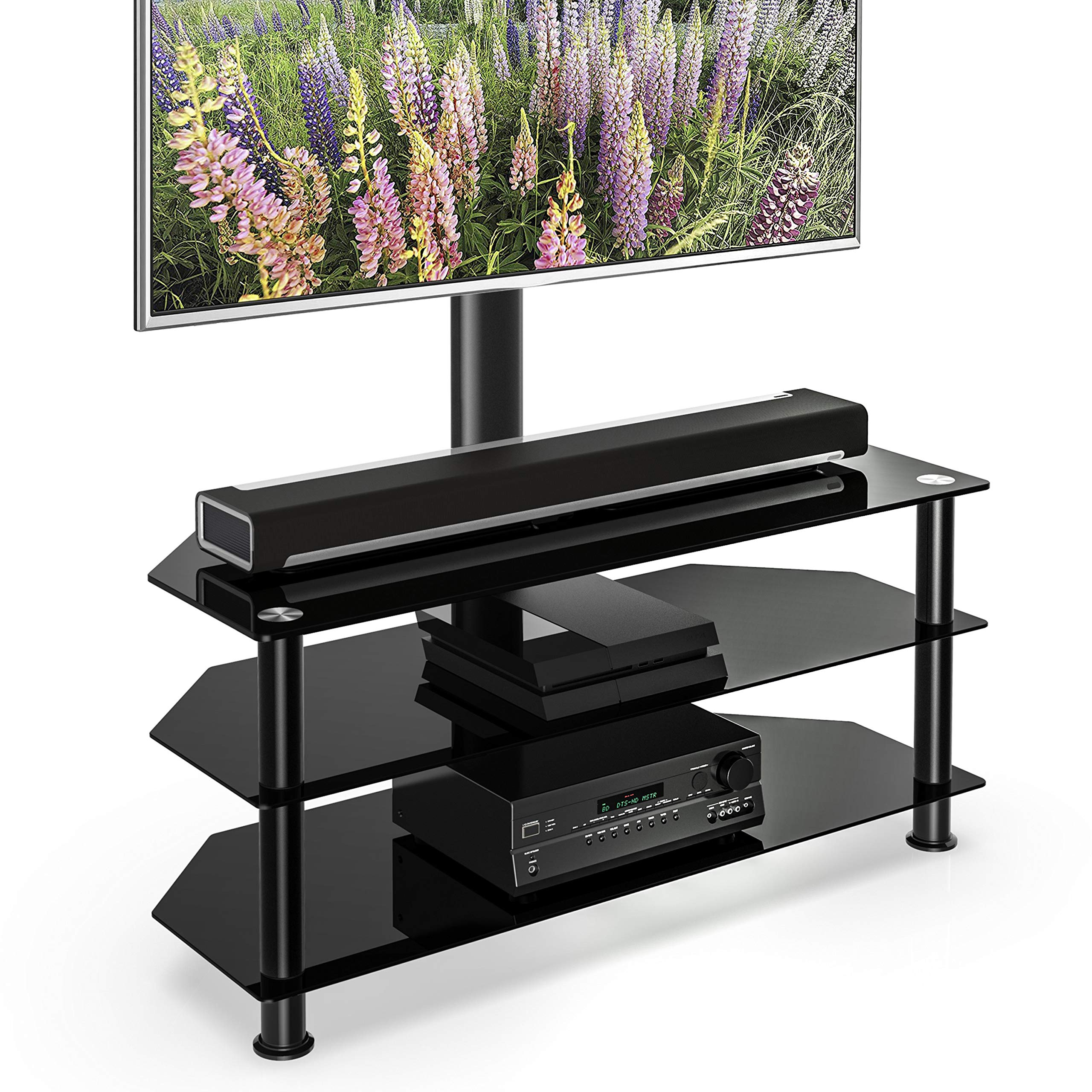 FITUEYES Floor TV Stand with Swivel Mount Height Adjustable 3-in-1 TV Stand Base Entertainment Stand for 32 to 65 inch Plasma LCD LED Flat or Curved Screen TVs TW307501MB by FITUEYES