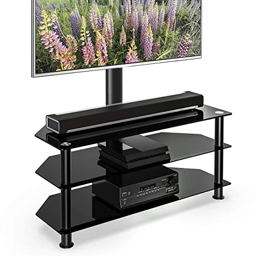 FITUEYES Floor TV Stand with Swivel Mount Height Adjustable 3-in-1 TV Stand Base Entertainment Stand for 32 to 65 inch Plasma LCD LED Flat or Curved Screen TVs TW307501MB