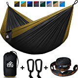 Double Camping Hammock - XL Hammocks, FREE Premium Straps & Carabiners - Lightweight + Compact Parachute Nylon - Backpacker Approved and Ready for Adventure! 400LB - 10.5ft x 6.5ft