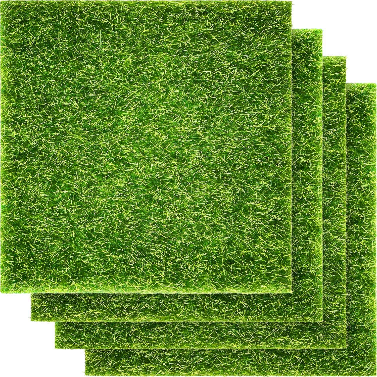 Pangda Artificial Garden Grass, Life-Like Fairy Artificial Grass Lawn 6 x 6 Inches Miniature Ornament Garden Dollhouse DIY Grass(4 Packs)
