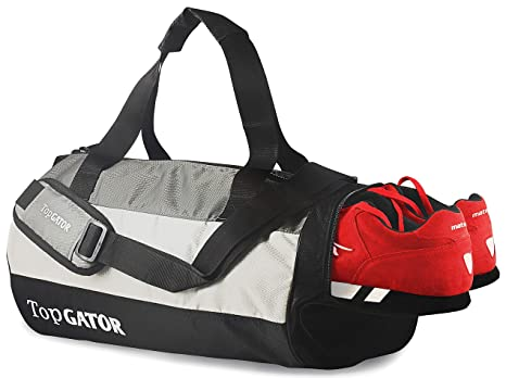 7d5d0e768397 TopGATOR Gym Bag Sports Duffel with Shoe Compartment 26 L (Grey Black)   Amazon.in  Bags