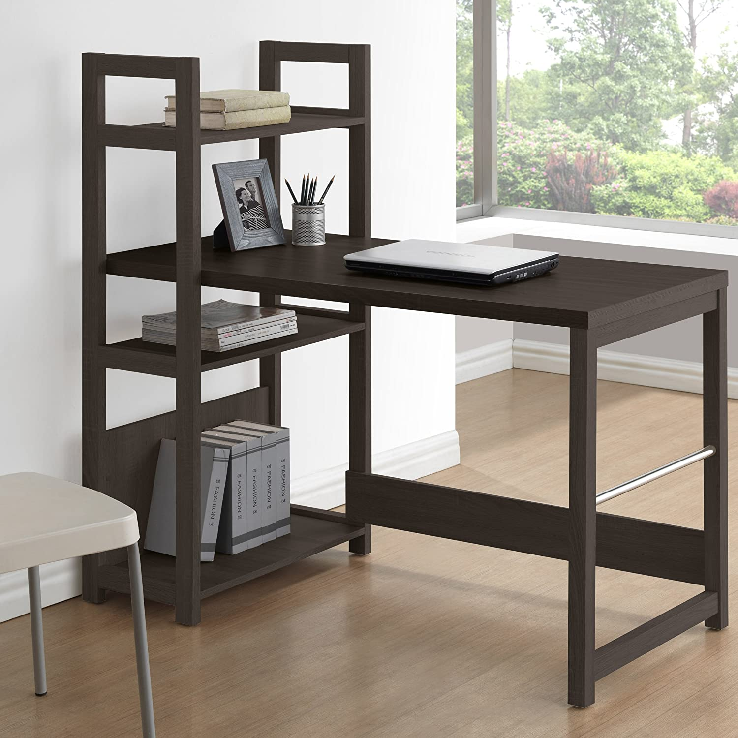 storage ideas wall out mounted bookshelf small under black computer wood fold desk