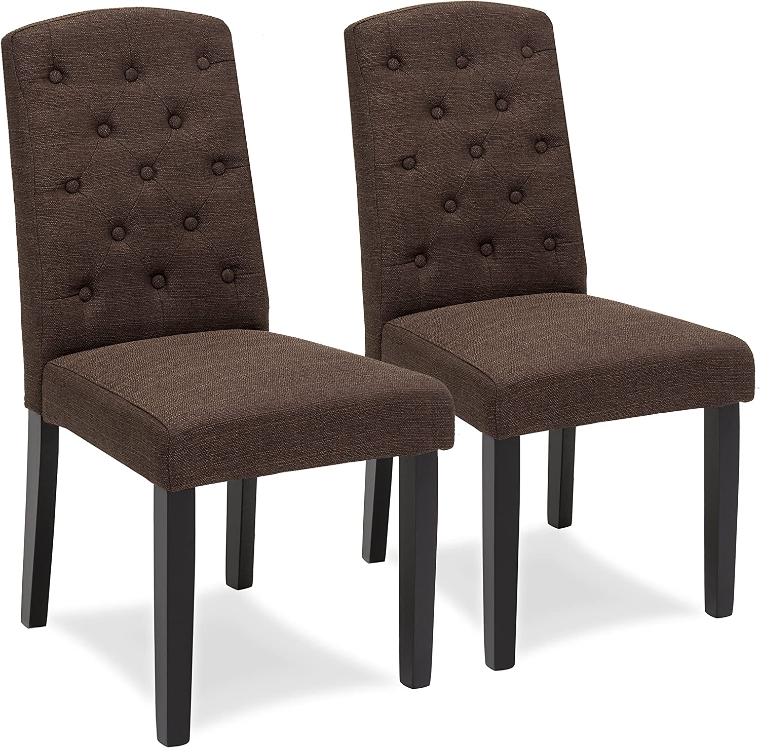 Best Choice Products Fabric Parsons Dining Chairs for Home Dining and Living Room w Tufted Backrest, Wood Legs, Set of 2, Espresso