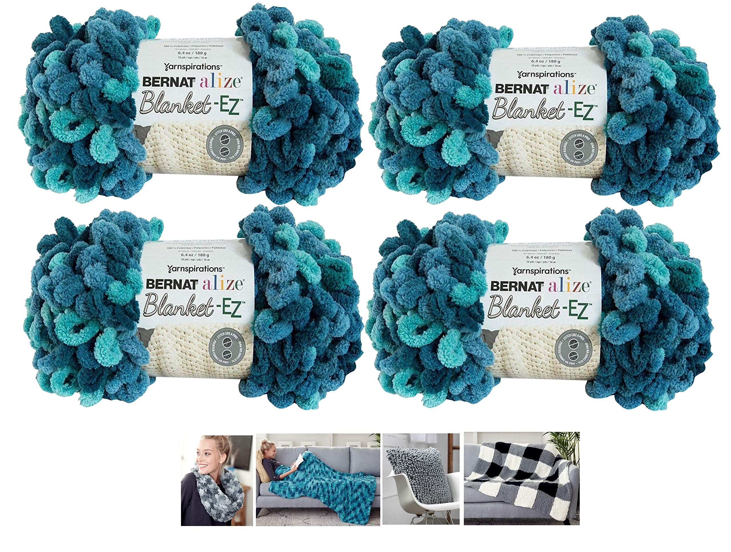 Bernat Alize EZ Blanket Yarn Bundle 100% Polyester 4 -Pack Seaport Teals Plus 4 Patterns