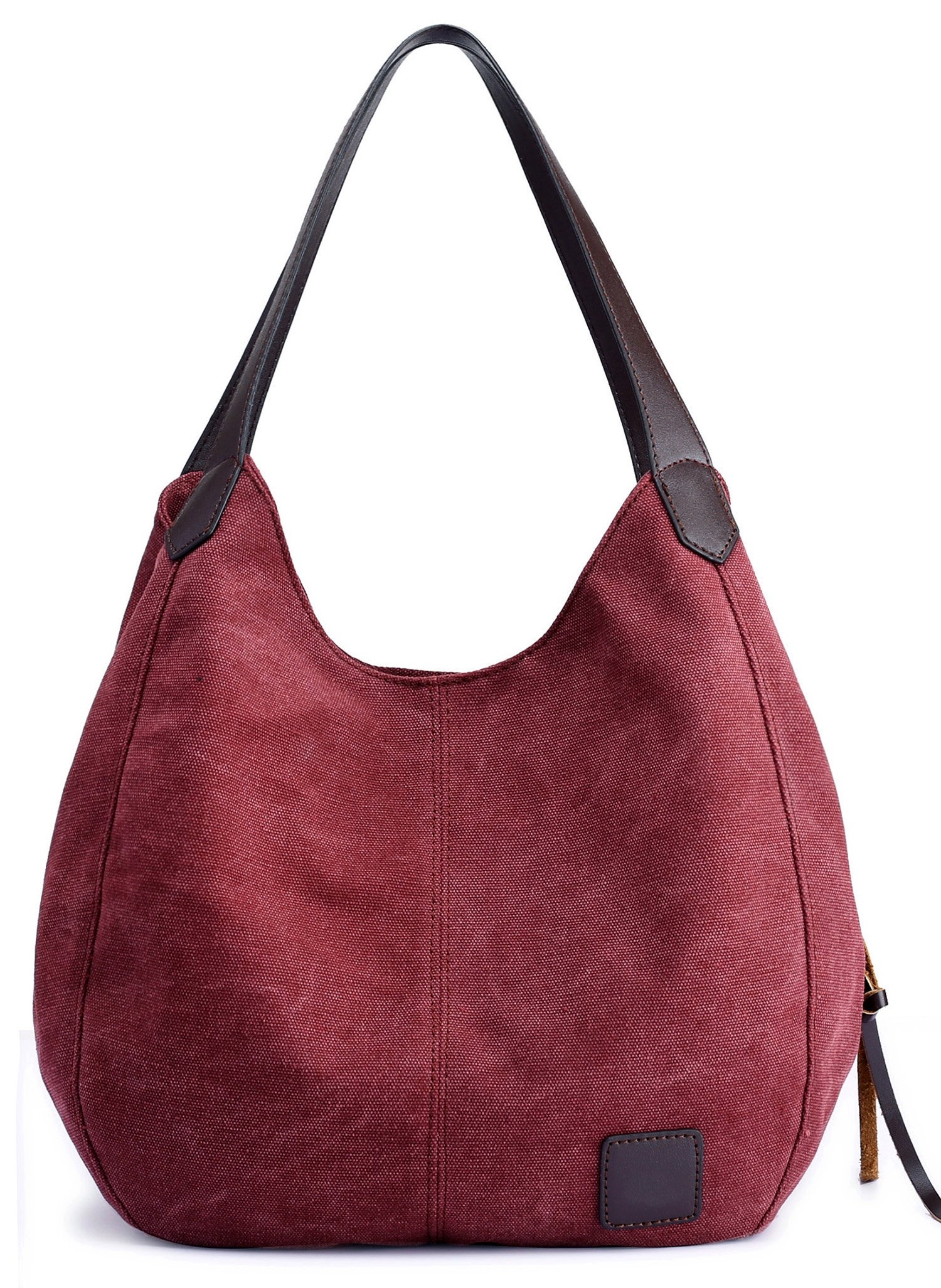 ArcEnCiel Fashion Women's Cotton Canvas Handbags Shoulder Bags Totes Purses (Maroon)