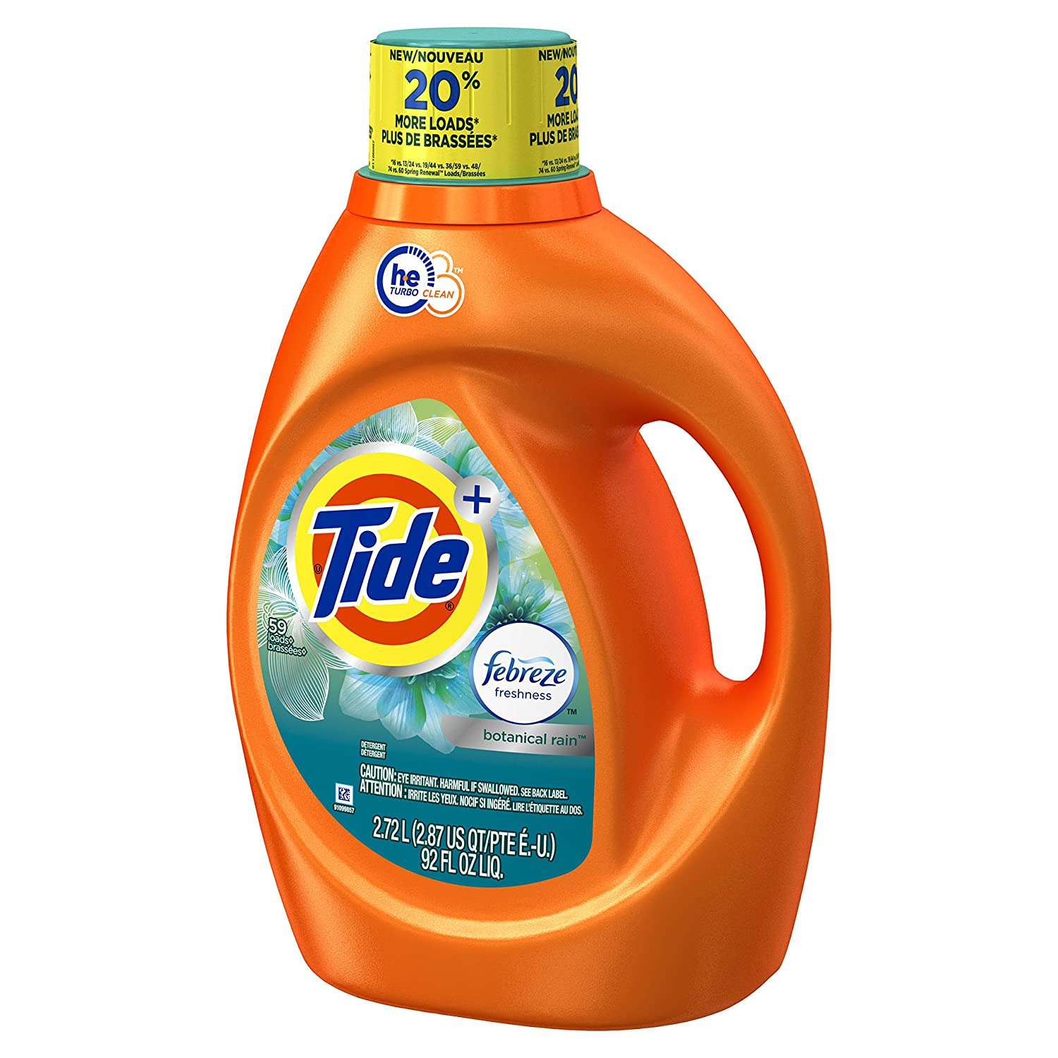 Amazon.com: Tide 59 Loads Plus Febreze Freshness Botanical Rain He Turbo Clean Liquid Laundry Detergent, 92 Fluid Ounce (Packaging May Vary): Health ...