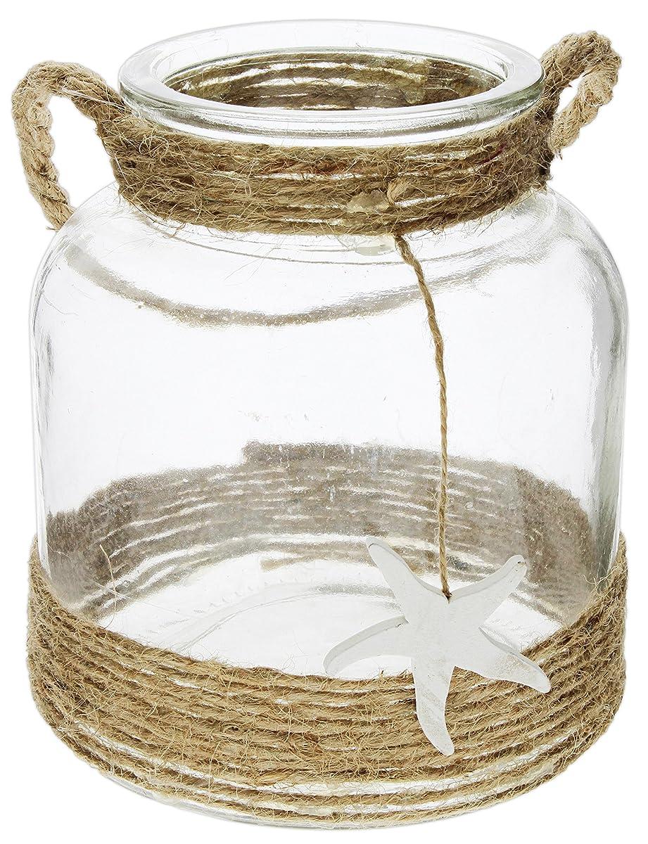 "Distinctive Designs Round Clear Glass Lantern with Rope Handle & Starfish Charm 6.5"""