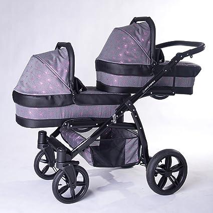 Carro gemelar 3en1. Completo: capazos, sillas, sillas de coche ...