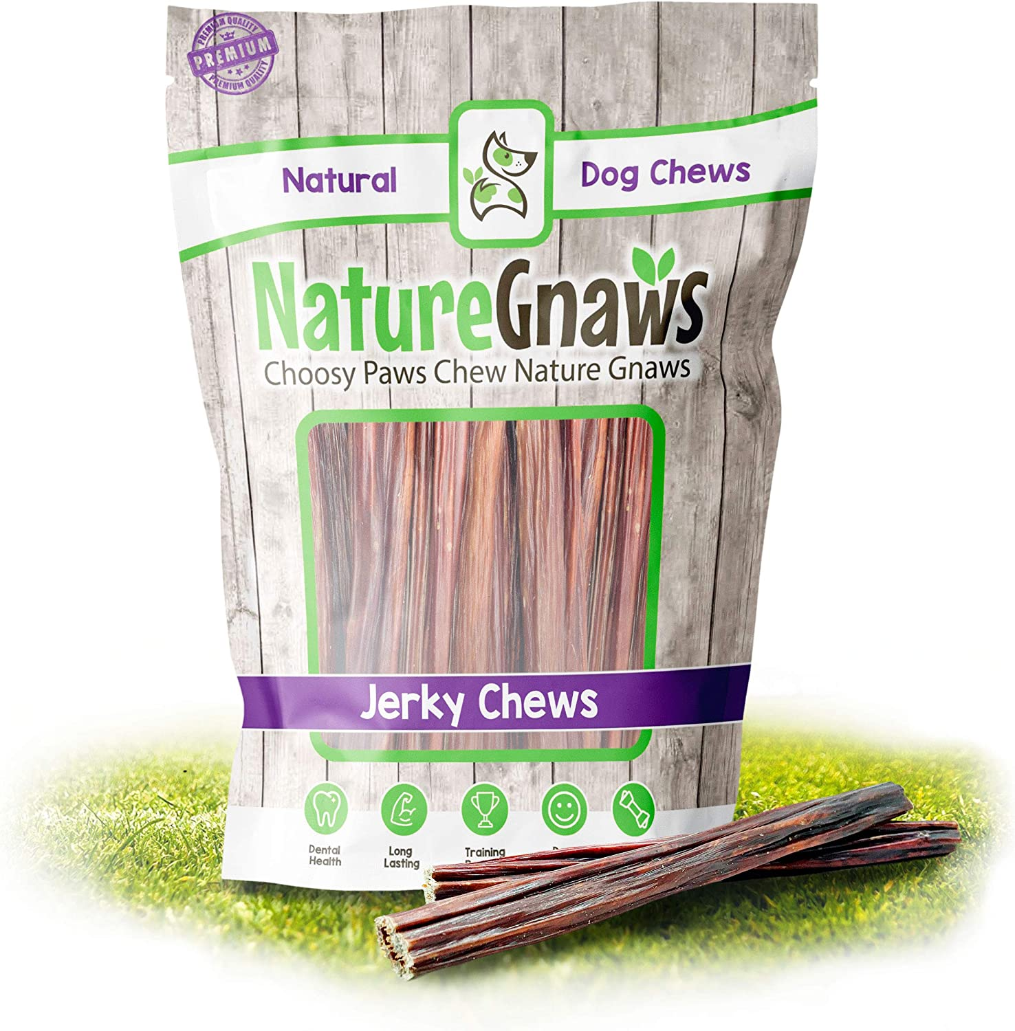 Nature Gnaws Junior Jerky Sticks for Dogs - Premium Natural Beef Gullet Bones - Simple Single Ingredient Tasty Dog Chew Treats - Rawhide Free - 5-6 Inch