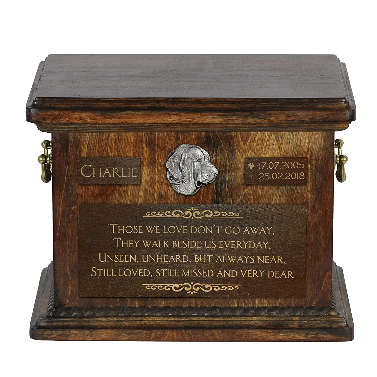 ArtDog Ltd. Spanish Mastiff, urn for dog's ashes with relief and sentence with your dog name and date