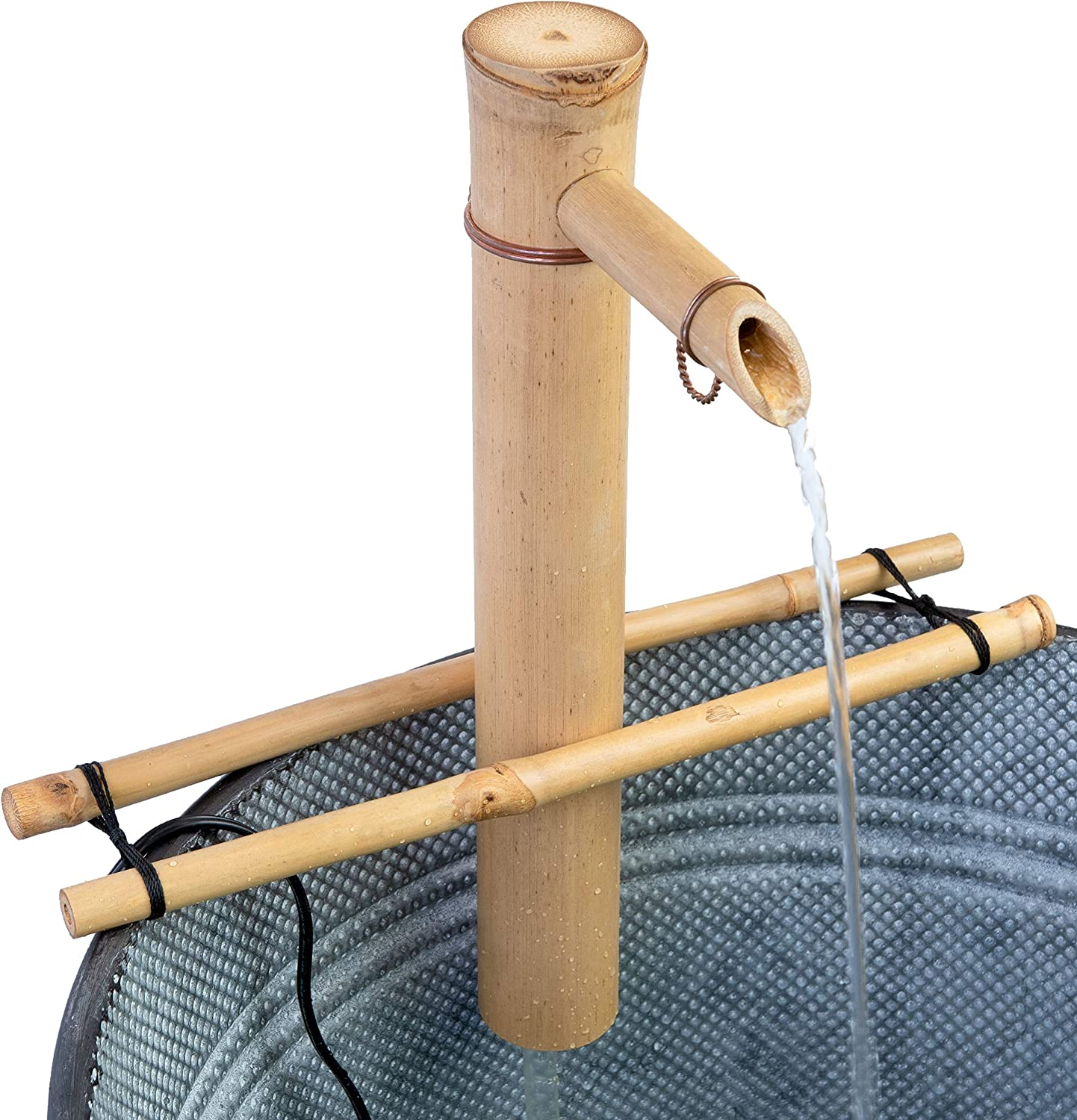 Bamboo Accents Water Fountain & Pump Kit - 12-inch Wide, Adjustable Branch Style Support, Split-Resistant Bamboo – DIY Indoor/Outdoor Zen Garden, Variable Height to Create The Sound You Desire