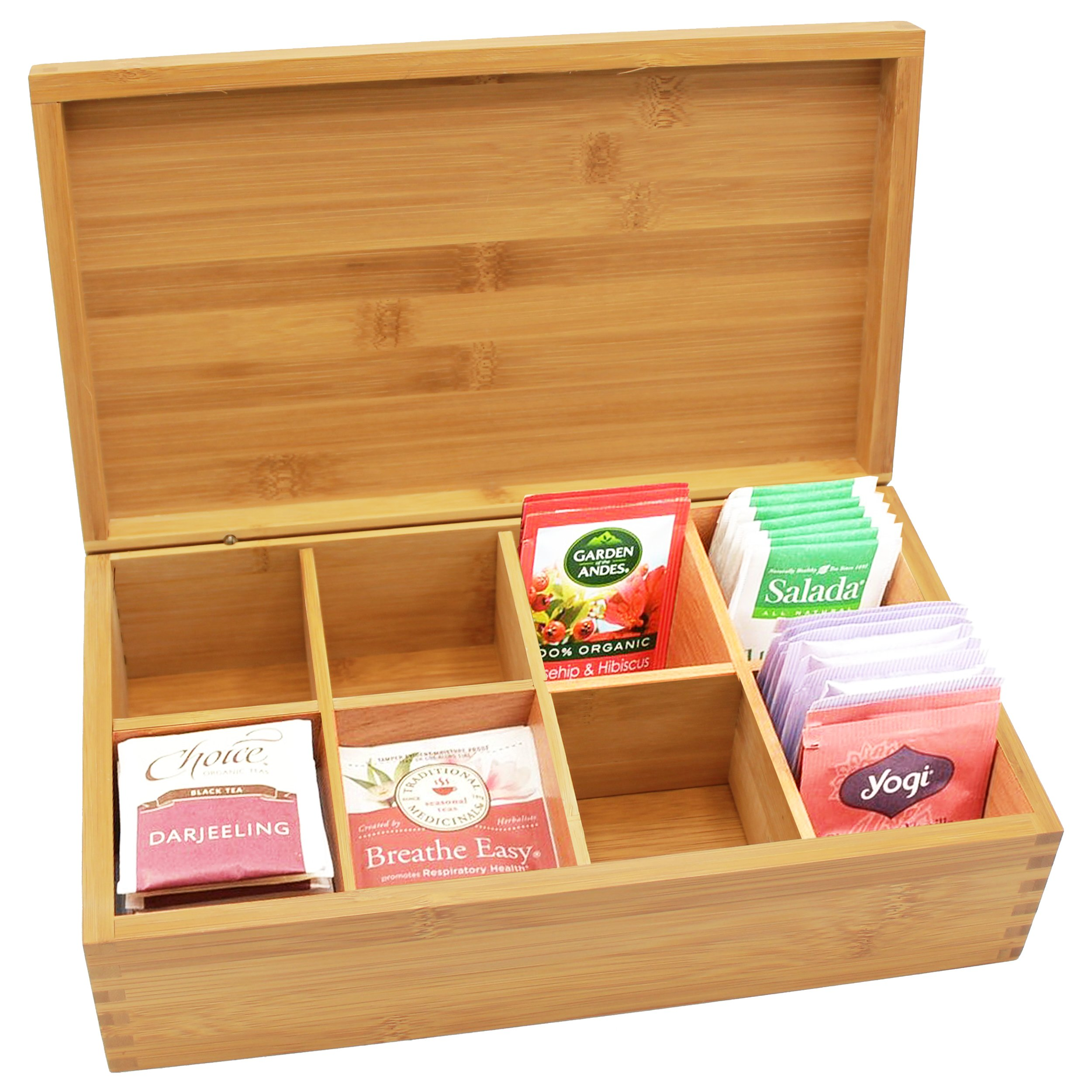 Custom Personalized Wood Tea Box Caddy Organizer - Engraved Bamboo Tea Storage Holder - Monogrammed for Free by The Wedding Party Store (Image #3)
