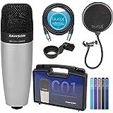 Samson C01 Large-Diaphragm Condenser Microphone for Recording Vocals, Acoustic Instruments, Overhead Drums Bundle with Blucoi