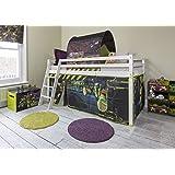 Cabin Bed Mid Sleeper in White with Turtles Tent Teenage Mutant Ninja Turtles