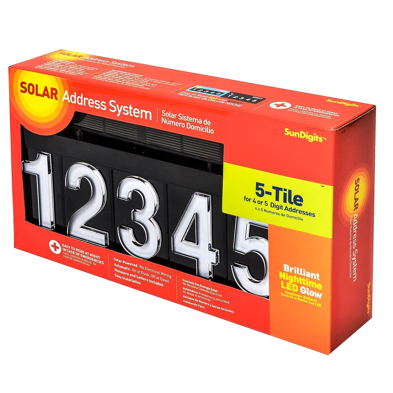 Sundigits 5 Digit Solar Led House Number 5 digit kit