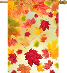 "ShineSnow Autumn Fallen Maple Leaves Fall Seasonal Scenery House Flag 28"" x 40"" Double Sided Polyester Welcome Yard Garden Flag Banners for Patio Lawn Home Outdoor Decor"