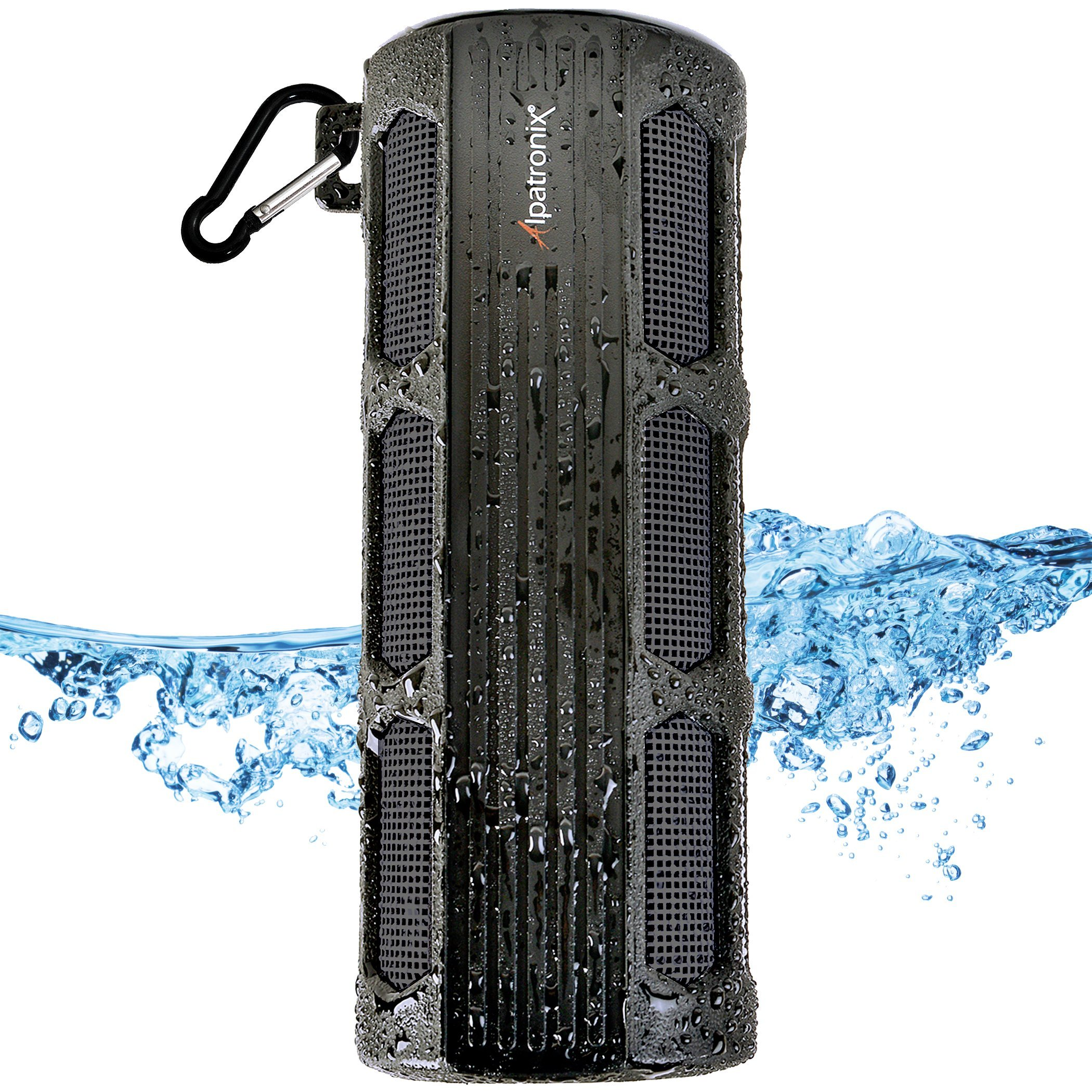 Waterproof Bluetooth Speaker, Alpatronix AX410 Portable Rugged Indoor/Outdoor 12 Watt Stereo Shockproof Wireless Speaker with Mic, Subwoofer & Carabiner for Cyclists, Smartphones & Computers - Black