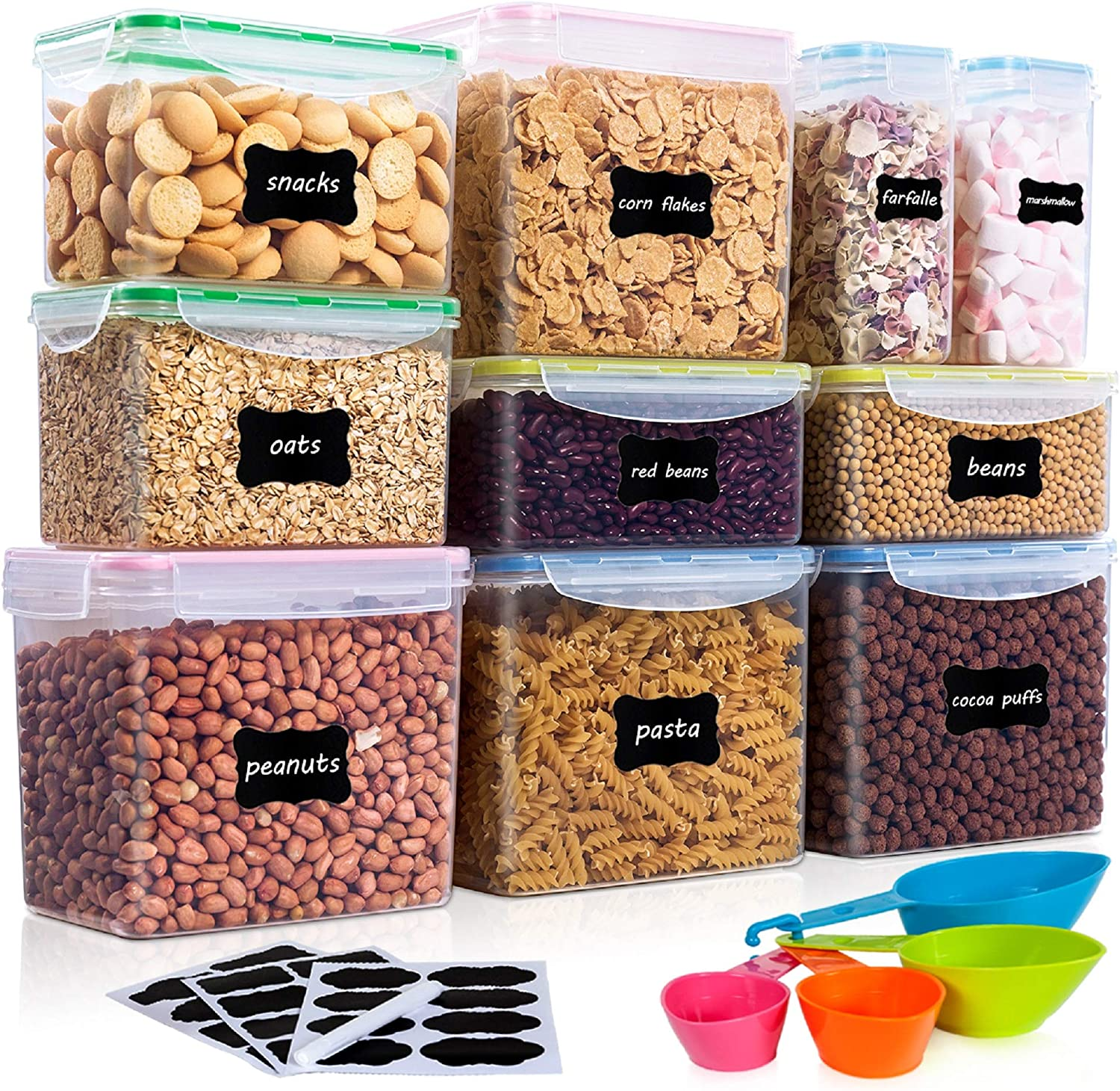 Amazon Com Vtopmart Airtight Food Storage Containers 10pcs Set Flour Containers Great For Sugar And Baking Supplies Plastic Bpa Free Kitchen Pantry Bulk Food Storage Canisters Include 24 Labels