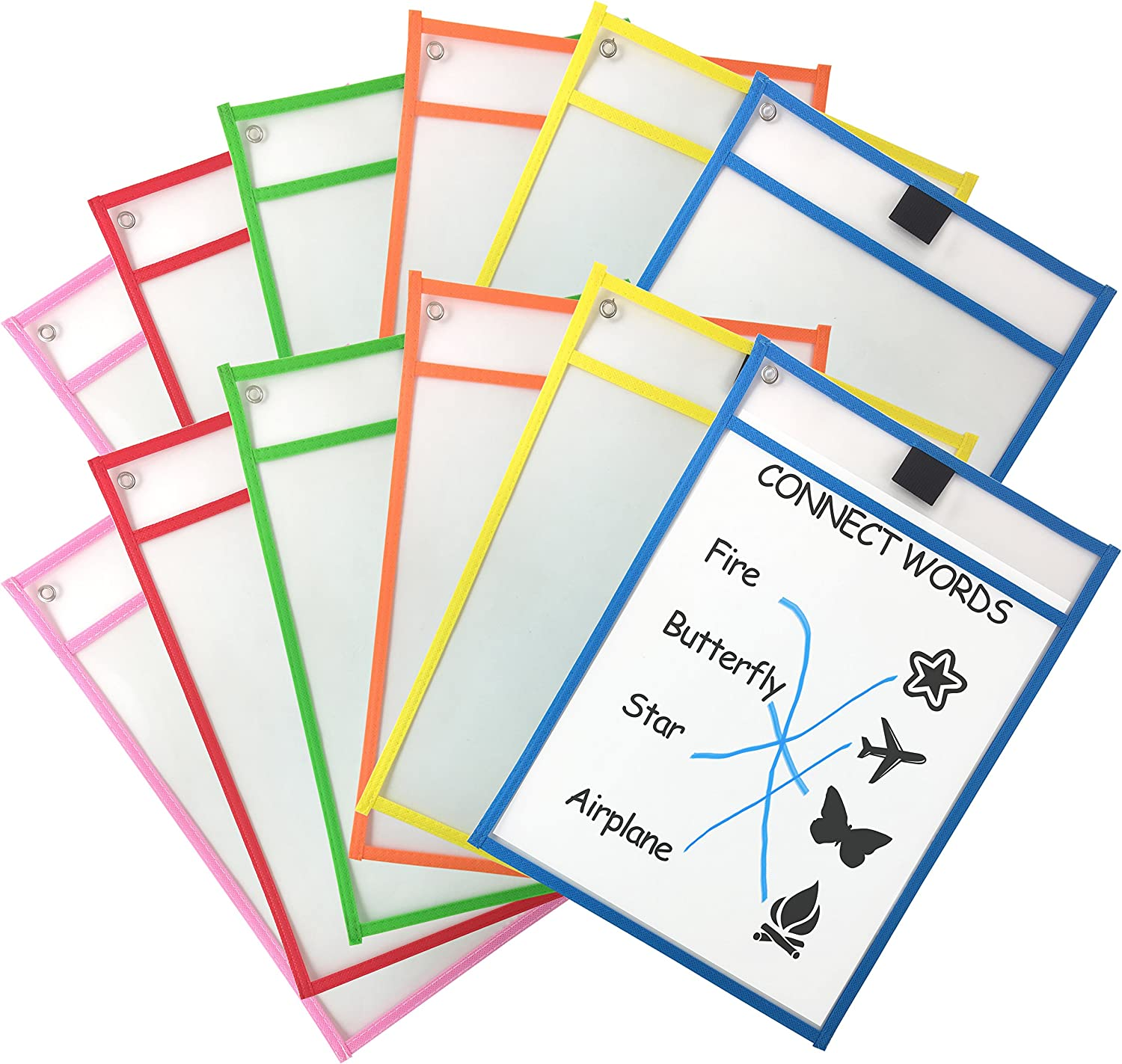 Clipco Dry Erase Pocket Sleeves Assorted Colors (12-Pack) : Office Products