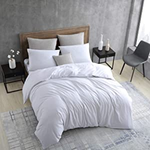 Kenneth Cole New York | Miro Collection | Duvet Cover Set - Cool and Sustainable Fabrics, Reversible Coverlet with Button Enclosures & Corner Ties, Full/Queen, White