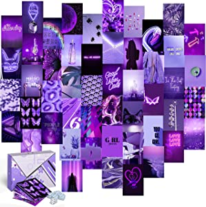 "KOLL DECOR Purple Pictures Wall Decor Aesthetic Wall Collage Kit – 50 Set 4""X6"" Prints Light & Dark Purple Wall Collage Kit Photo 80s Room Asthetic Wall Images for VSCO Teen Girl Bedroom Poster"