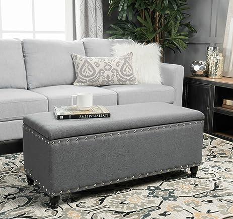Storage Ottoman Bench Coffee Table Grey Nailhead Studded Fabric