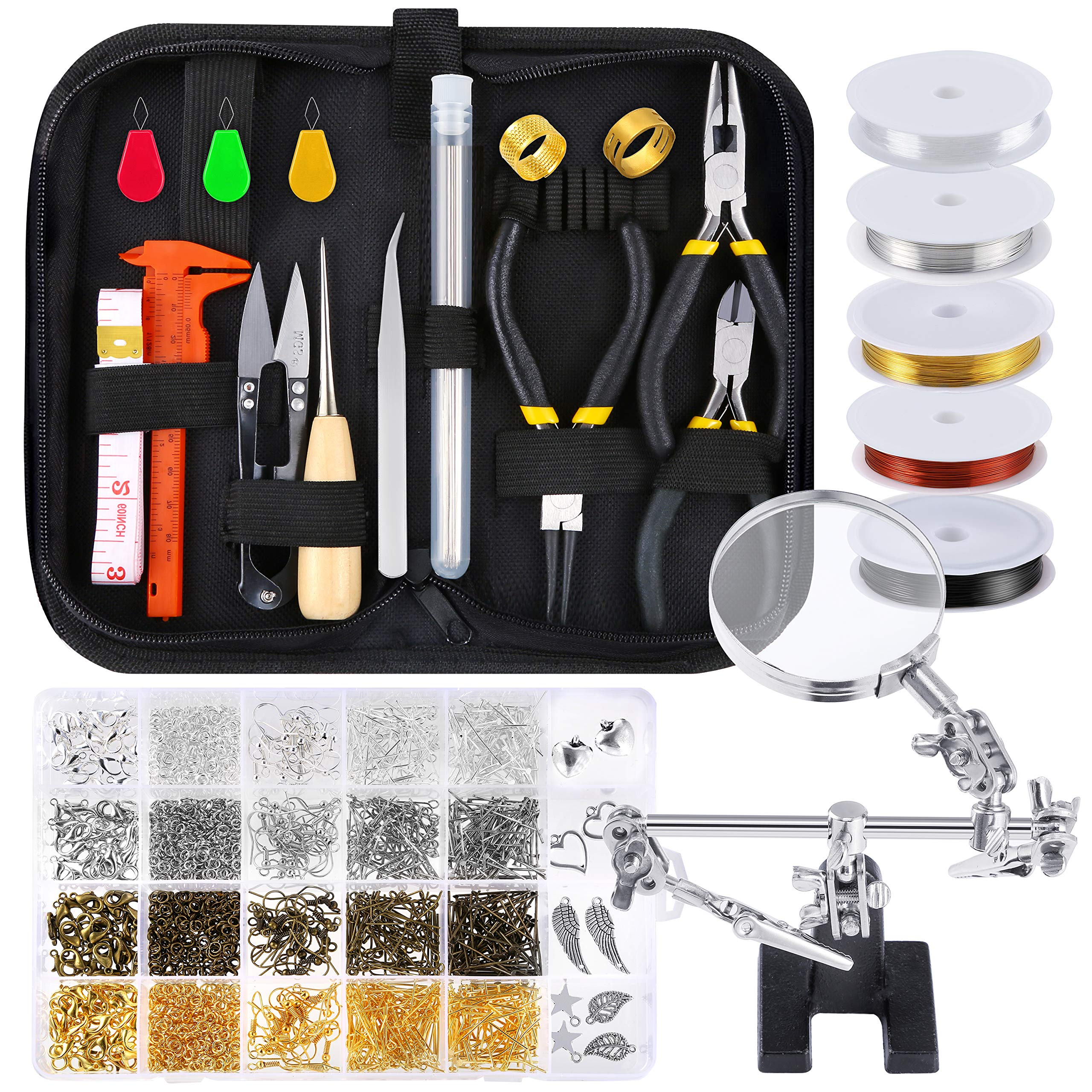 PP OPOUNT Jewelry Making Supplies Wire Wrapping Kit with Jewelry Beading Tools, Jewelry Wire, Helping Hands, Jewelry Findings and Pendants for Jewelry Making and Repairing by PP OPOUNT