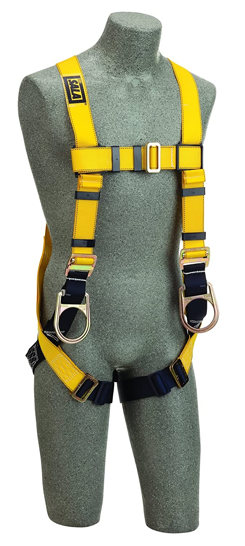 Back//Side D-Rings 3M DBI-SALA Delta 1103512 Construction Vest Style Harness Universal Loops For Belt Pass Thru Buckle Legs Navy//Yellow DBI//Sala