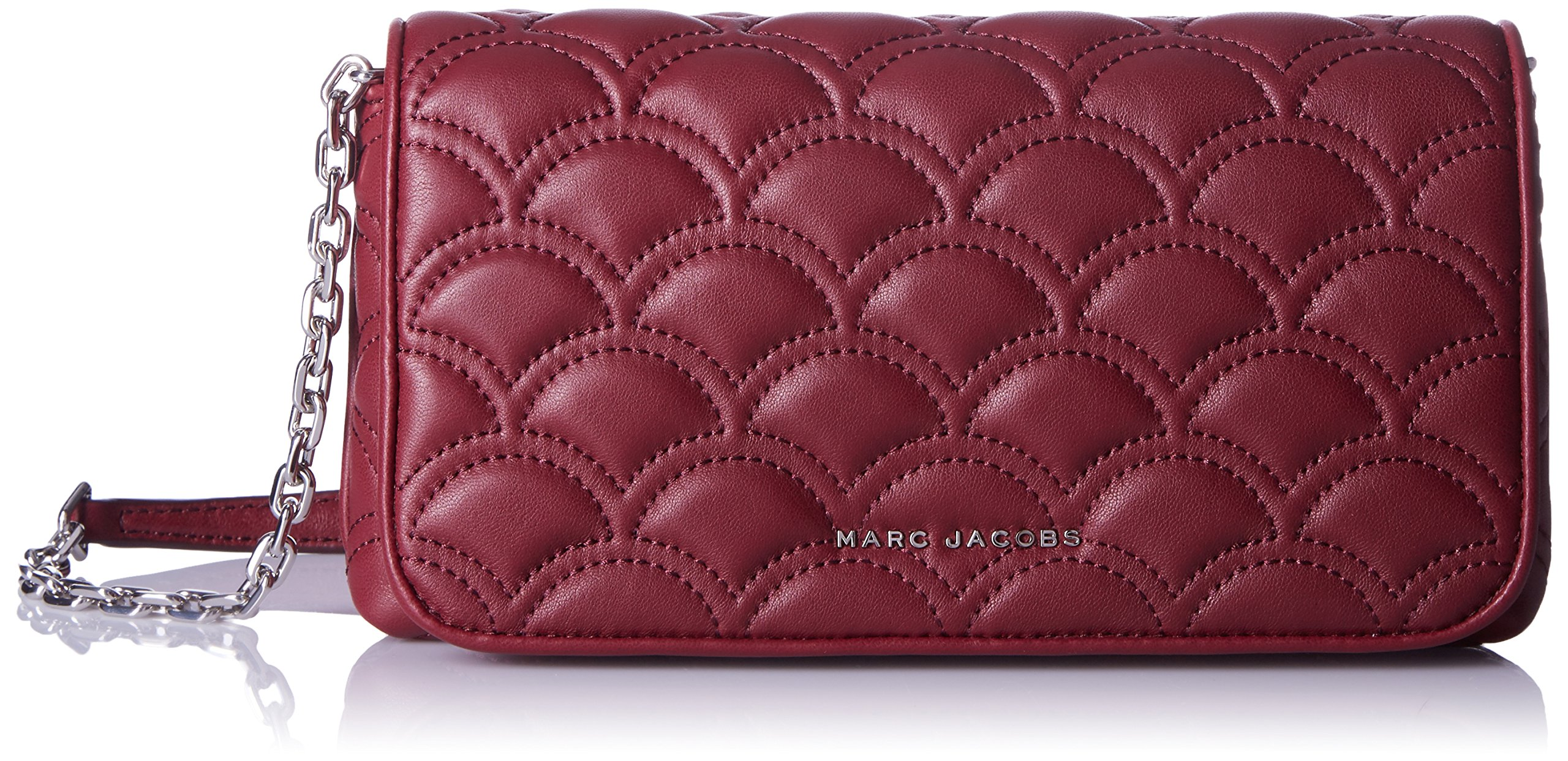 Marc Jacobs Matelasse On Crossbody Chain Wallet, Deep Maroon, One Size by Marc Jacobs