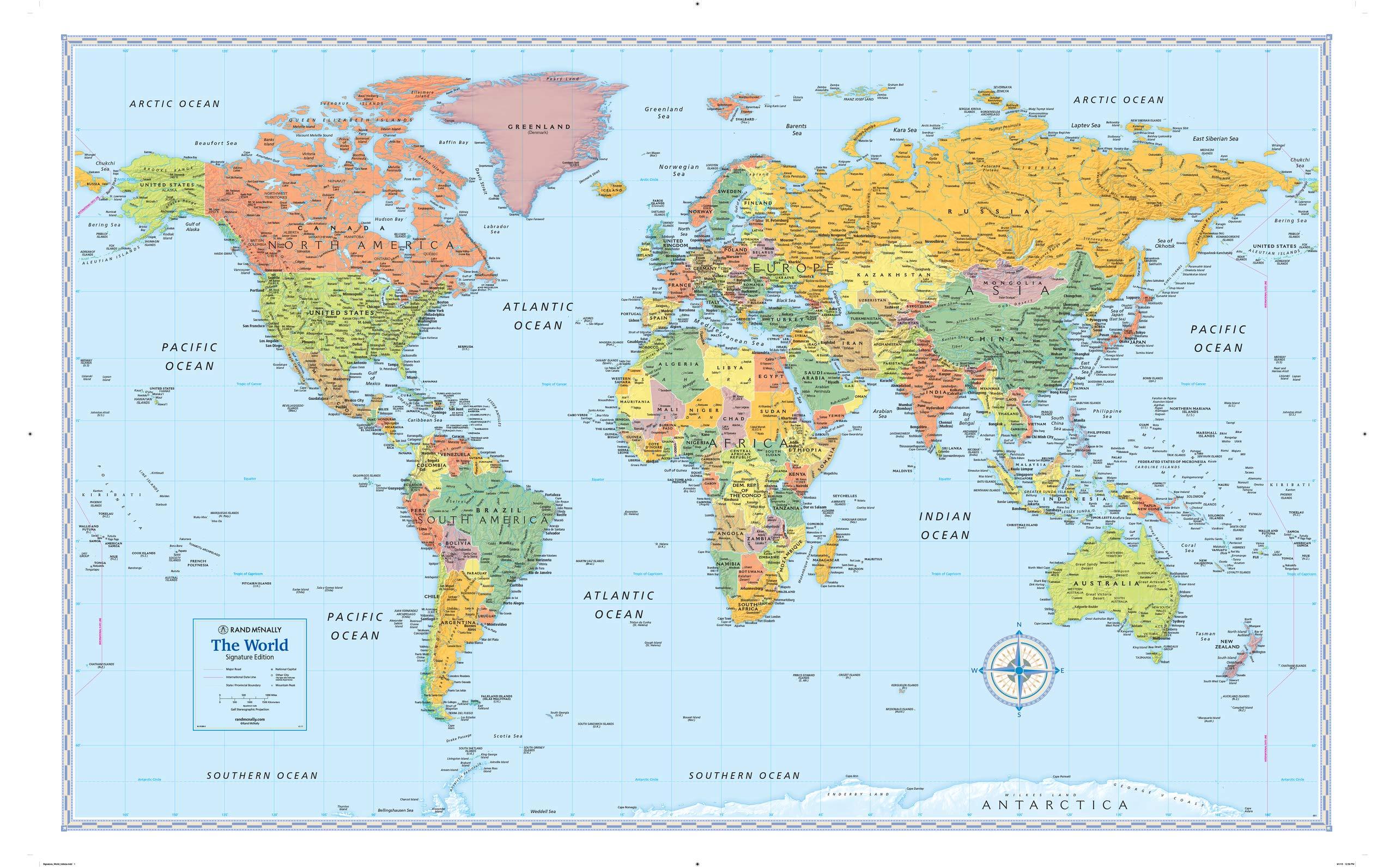 Rand Mcnally Signature World Wall Map Laminated Rand Mcnally