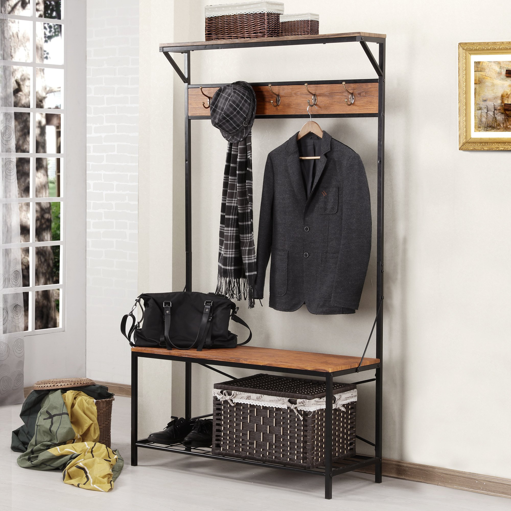 Fivegiven Hall Tree Coat Rack Bench For Entryway Rustic In