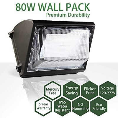 FLILED LED Wall Pack, 80W, Commercial and Industrial Outdoor Lighting, 5000K, IP65 Waterproof (1 Pack)