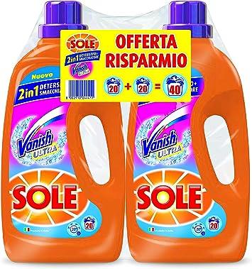 Sole - Detergente líquido para lavadora con agentes quitamanchas Vanish, en paquete de 2 unidades de 1,3 litros, 2,6 litros en total: Amazon.es: Salud y cuidado personal