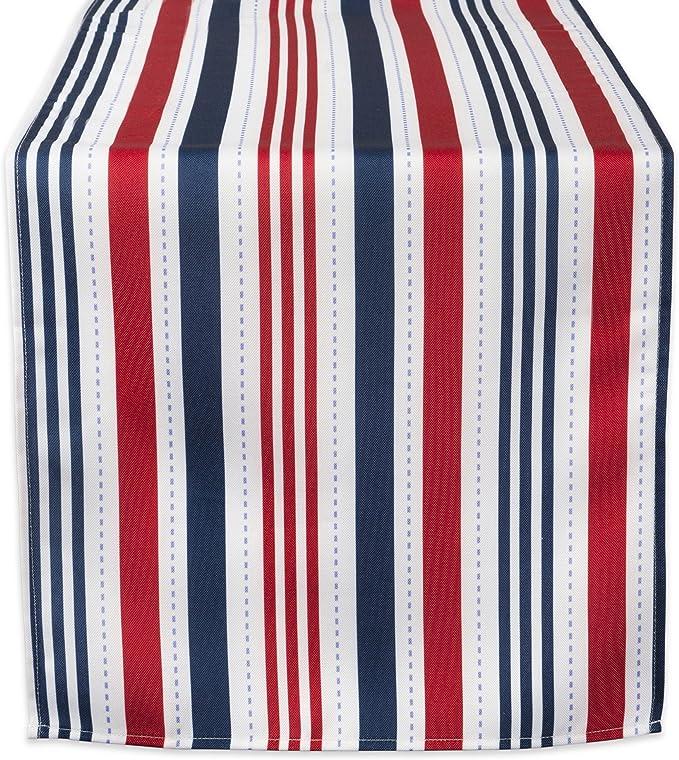 Amazon Com Dii Camz38585 Patriotic Stripe Outdoor Tablerunner 14x72 Home Kitchen