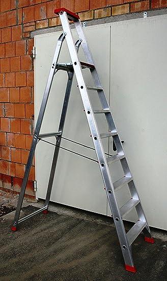 Escalera de aluminio profesional 8 peldaños/peldaños, 284 x 66 x 16 cm, aluminio, marca: Szagato (pie escalera, escalera, aluminio escalera, escalera combinada, palanca): Amazon.es: Bricolaje y herramientas