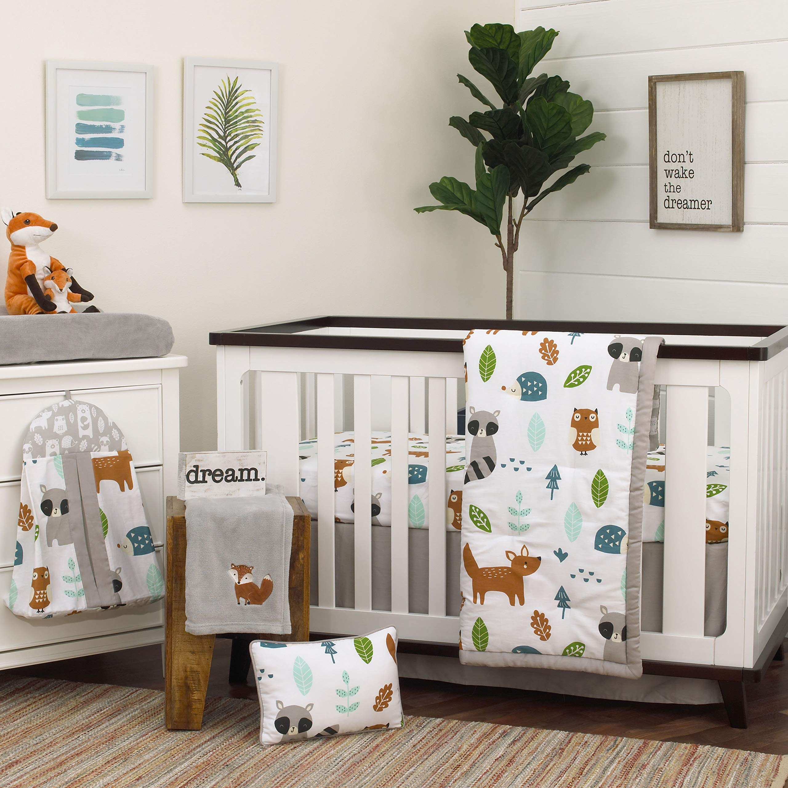 NoJo Dreamer Little Dinosaurs 8 Piece Nursery Crib Bedding Set Navy Blue//Grey//White