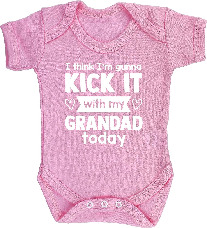 Short Sleeve Boys Girls Hippowarehouse I Think Im Gunna Kick it with My Grandad Today Baby Vest Bodysuit